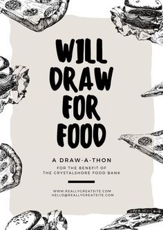 Draw Food Sketch Fundraising Event Poster - Templates by Canva Event Poster Template, Event Poster Design, Event Design, Pen Illustration, School Posters, Graphic Design Software, Food Drawing, School Design, School Supplies
