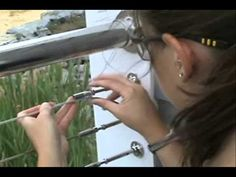 Villa Garden Design Cable Railing in 3 Easy Steps!- DIY stainless steel cable decking video Saved to www. New Deck, Back Deck, Deck Railings, Stair Railing, Deck Railing Ideas Diy, Iron Railings, Banisters, Railing Design, Deck Design