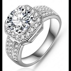 Ladies sterling silver engagements Ladies designer sterling silver engagement rings with handset high-quality Stones finished with a crisp white gold rhodium finish. Guaranteed to love it for your money back lifetime warranty a lot of that she's defects please allow 3 to 6 weeks for shipping as they are made to order your size thank you Jewelry Rings