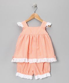 Fantaisie Kids Orange Eyelet Swing Top & Bloomers - Infant | zulily