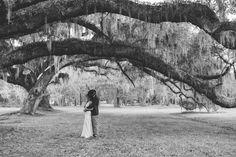 Sequined halter Jenny Packham bridal gown. Wedding colors of plum and wine. Vintage style wedding at Magnolia Plantation photographed by Charleston wedding photographer Priscilla Thomas.