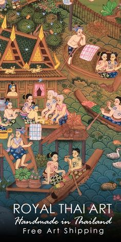 Royal Thai Art is one of the best online art galleries of authentic Thai artwork hand-painted by talented new emerging Asian artists. Insured international shipping by air to all counties. **Art credit by Rung Kumson Thai Pattern, Art For Sale Online, Thai Art, Custom Canvas, Character Illustration, Online Art Gallery, Asian Art, Folk Art, Character Design