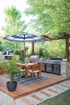 Gorgeous patio makeover with amazing outdoor kitchen by Place of My Taste