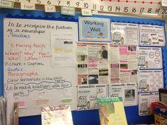 Year 3 Literacy Working Wall - Newspaper Writing Spring 2013/2014
