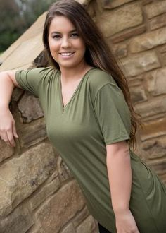 Piko SS Vneck Tee ~ Olive available at J. Lilly's Boutique or jlillysboutique.com