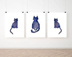 Wall art Cat print Wall decor Low poly art Geometric Abstract