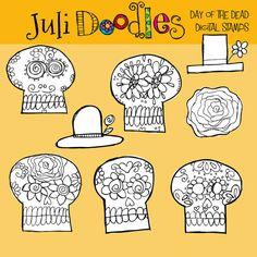 Julianns Sugar Skulls  digital clipart