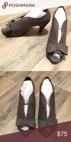 """Suede Peep Toe Pumps Grey. Leather upper. 3.5"""" heel. Worn once, in almost like new condition and comes with original box! Bundle 3+ items from me and only pay shipping ONCE, get 15% off, and a FREE gift! Bella Vita Shoes Heels"""