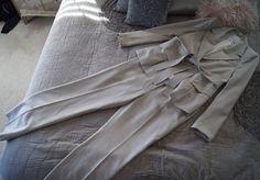 Yves St Laurent YSL Light Grey Ivory Wool Silk Pant Suit 38 40 US 8 10 | eBay