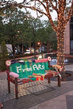 knit graffiti bench