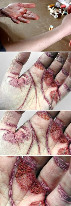 'For a Woman's Work is Never Done' Eliza Bennett, using her own skin as a canvas, embroiders a self-inflicted sculpture into her flesh
