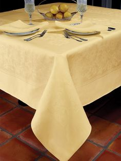 Chrysanthemum - Luxury Table Cloths - An abundance of graciousness is woven into our imported 100% linen damask tablecloths, made in Europe with a glorious arrangement of full-blooming chrysanthemums