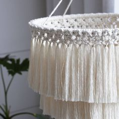 Chandelier photographed during the day. Romantic atmosphere without lighting. Knotted each fringe Macrame Design, Macrame Art, Macrame Projects, Art Macramé, Fabric Ceiling, Diy Chandelier, Creation Couture, Macrame Tutorial, Macrame Patterns