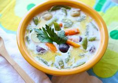 Scandinavian Summer Soup - Made with the early produce of spring with baby potatoes, carrots and onions, and green beans in a lightly seasoned milk broth.