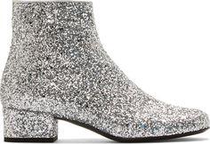 Saint Laurent - Silver Glittered Galaxi Ankle Boots