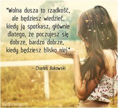 Wolna dusza to rzadkość, ale będziesz wiedzieć.. Charles Bukowski, Life Is Beautiful, Wise Words, Everything, Ale, Quotes, Inspiration, Polish, Places