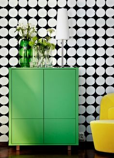 STOCKHOLM green cabinet with doors, drawers and solid ash legs