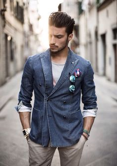Peak lapel double breasted denim blazer