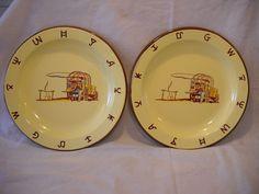 MONTERREY WESTERN WARE PORCELAIN ENAMELWARE COWBOY 2 dinner plates