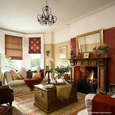 Love the contrasting wall color of the fireplace wall