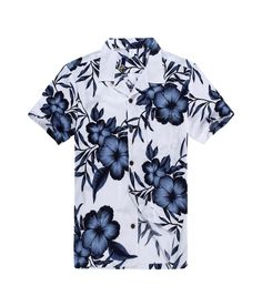 Men Cotton Hawaiian Shirt in White Floral