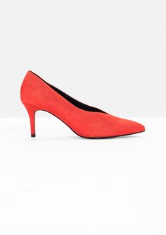& Other Stories image 1 of Pointed Suede Pump in Red