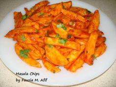 Masala Chips: 1 T melted butter, 1 t paprika, salt, 1 t chili powder, 1/4 t garlic paste, 1 T tomato paste, 1 T tomato sauce (or chili sauce)