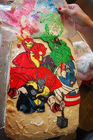 How to add characters to cake with frosting, wax paper and coloring book pages