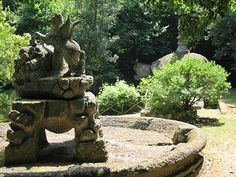 Pictures of Bomarzo Monster Park in Northern Lazio: Picture of Pegasus in the foreground, the tortoise in the back