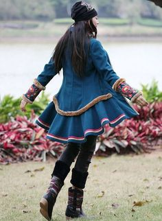 Winter Coats – Embroidered woollen Coat / jacket - Indian Blue – a unique product by Origina on DaWanda Gothic Hippie, Hippie Gypsy, Indian Blue, Japanese Modern, Winter Jackets, Winter Coats, Fashion Beauty, Womens Fashion, Bollywood