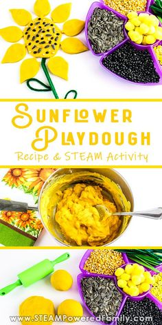 Easy and gorgeous homemade sunflower playdough recipe. Create an interactive, hands on learning experience with this fun STEAM activity for all ages. Early Learning Activities, Steam Activities, Craft Activities For Kids, Infant Activities, Projects For Kids, Book Activities, Easy Homemade Playdough Recipe, Playdough Activities, Play Food