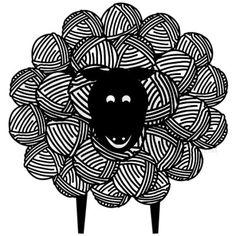 yarn Drawing Ball Of - Yarny Sheep Maternity TShirt. Sheep Illustration, Sheep Art, Knit Art, Crochet Humor, Doodle Art, Printmaking, Coloring Pages, Art Projects, Art Drawings