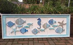 Wood School of Fish Wall Art Headboard Sign Starfish Seahorse