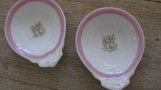 Vintage small dishes, set of 2, English, monogrammed, pink, gold, tea holder, vanity dish, soap dish, jewelry holder. Available @ jemsbyjennym.etsy.com