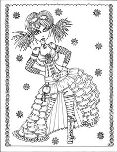 Steampunk Girls Coloring Book Page colouring adult detailed advanced printable Zentangle anti-stress,  Färbung für Erwachsene, coloriage pour adultes, colorare per adulti, para colorear para adultos, раскраски для взрослых, omalovánky pro dospělé, colorir para adultos, färgsätta för vuxna, farve for voksne, väritys aikuiset Line Art Black and White https://www.etsy.com/shop/ChubbyMermaid