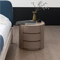 Modern round bedside cabinet 'Theo' by Mobilstella
