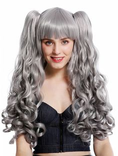 LADIES TWO TONE LONG CURLY GREY WIG WITCH GHOST PARTY COSTUME HALLOWEEN NEW