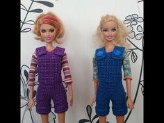 Вязание крючком. Комбинезон/полукомбинезон для куклы крючком. - YouTube