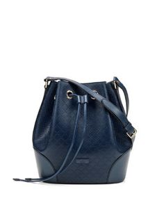 V1XU5 Gucci Bright Diamante Medium Leather Bucket Bag, Navy