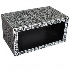 Pandora Bone inlay Black Floral Coffee Table