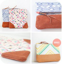 Image of Leather Accent Fold Over Pouch PDF Sewing Pattern