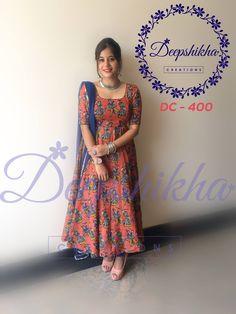 DC Beautiful kalamkari print floor length dress from Deepshikha.For queries kindly whatsapp : 9059683293 31 July 2017 Kalamkari Designs, Churidar Designs, Kurti Neck Designs, Dress Neck Designs, Kurta Designs Women, Kurti Designs Party Wear, Designs For Dresses, Designer Anarkali Dresses, Designer Dresses