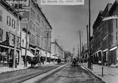 20140724 HORSE ORDINANCE C1 Looking up Church Street, between College and Bank. Note the hitching posts on the sidewalk on the right. (Photo: Courtesy Special Collections, UVM LIbrary)