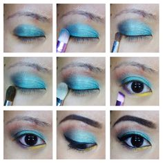 Purple and teal makeup inspired by the Hippocampus from Percy Jackson