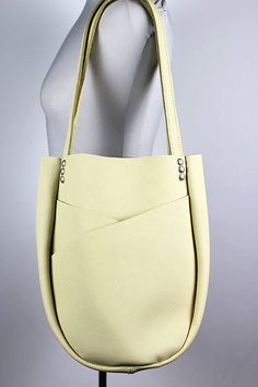 Pastel Yellow Leather Shoulder Bag/Pale Yellow Leather Tote