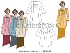 Woman's tunic technical drawing with model