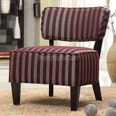 Striped Accent Chair (Burgundy)