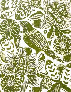 Spring linocut print Amanda Colville - printmaking ; bird ; flower ; leaves