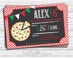 Pizza Party Birthday Party Invitation Kids Birthday Invite DIY-Printable **Digital File Only by LittleRoseStudio on Etsy https://www.etsy.com/listing/183666357/pizza-party-birthday-party-invitation