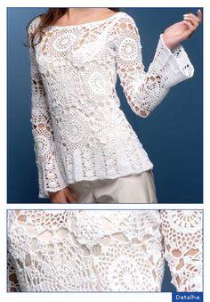 Blusa em crochet - site da Pingouin com esquema e receita em português
